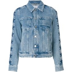 Givenchy star trim denim jacket ($1,495) ❤ liked on Polyvore featuring outerwear, jackets, blue, long sleeve jean jacket, givenchy, long sleeve jacket, blue jean jacket and givenchy jacket