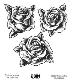 Buy Vintage Roses by imogi on GraphicRiver. Vintage beautiful rose flowers set in monochrome style isolated vector illustration Day Of The Dead Tattoo Designs, Day Of The Dead Tattoo Sleeve, Rose Drawing Tattoo, Tattoo Drawings, Dead Rose Tattoo, Realistic Rose Tattoo, Los Muertos Tattoo, Black Rose Tattoos, Tribal Rose Tattoos