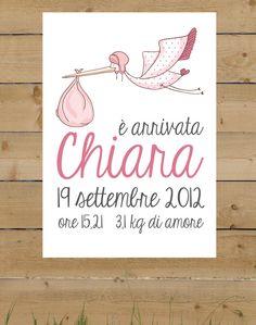 Stampa personalizzata bambina (annuncio nascita) A4. €9,00, via Etsy.