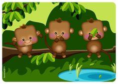 Three cute monkeys