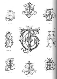 vintage monograms - - drawing or painting ideas