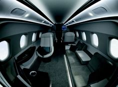 Embraer teamed up with BMW's Los Angeles studio, DesignworksUSA, for some super-swank interiors for the company's medium-range jets. The Phenom 300 - for 65 Million dollars