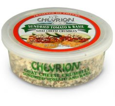 Chevrion Goat Cheese with Sundried Tomato & Basil available at select retailers nationwide in 4 oz. crumble cups. Crumble this tasty treat on top of pasta dishes and bake until slightly bubbly, or serve with fresh tomatoes and olive oil.