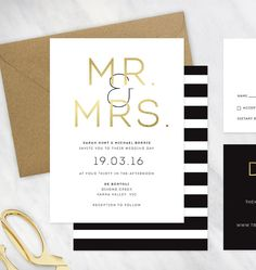 Black Gold and White Wedding Invitation by LittleBridgeDesign