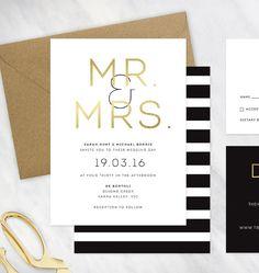 Black, Gold and White Wedding Invitation - Deposit