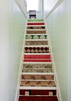 Decorating Stair risers | Adding Beautiful Wallpapers to Stairs Risers for Original Staircase ...