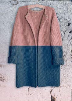 Верхняя одежда ручной работы. Ярмарка Мастеров - ручная работа. Купить Пальто Оверсайз Вязаное Норка (сине-пудровый цвет). Handmade.