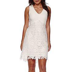 jcp   Worthington® Sleeveless V-Neck High-Low Lace Skirt Dress
