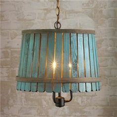 Bushel Basket Lantern from Shades of Light. Washed-color wooden bushel baskets bring back days of Huck Finn and outdoor adventures. Add a hint of color to any casual space with these unique pendant lights. Lamp, Fixtures, Lanterns, Lights, Bushel Baskets, Home Diy, Chandelier, Basket Lighting, Diy Lighting