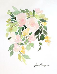 Floral in Peach I for Minted — Yao Cheng Design #Watercolorflowers