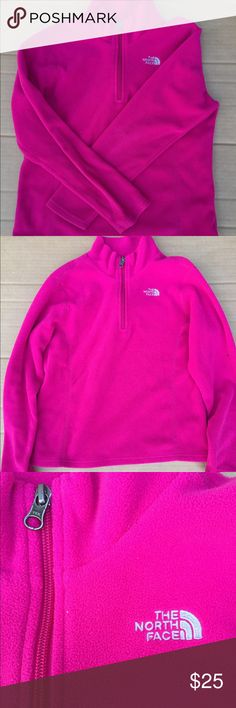 North Face Pink Quarter Zip Excellent condition! Only worn a few times. Color is closer to the first picture. It's a bit darker than the two other photos. Open to reasonable offers! North Face Jackets & Coats