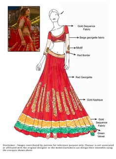 Red Lehenga worn by Deepika Padukone in Nagada Sang Dhol- Ram Leela