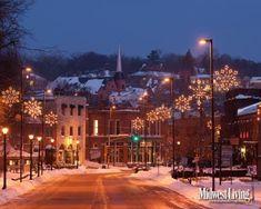 Snowflake lights sparkle along a main street of downtown Stillwater, Minnesota.