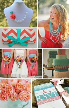 Bing : teal and coral wedding The Brides will Coral dresses with Tiffany blue beaded necklaces. The Groomsmen will wear tiffany blue ties.