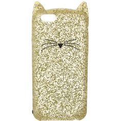 Kate Spade New York Glitter Cat Phone Case for iPhone 6 (Gold Glitter)... ($45) ❤ liked on Polyvore featuring accessories, tech accessories, gold smartphone and kate spade