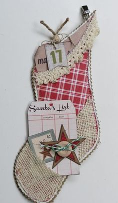 """Simple Stories """"handmade holiday"""" paper 2012; advent calendar stockings....more stocking ideas revealed on this site"""