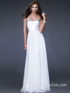 Elegant A-line Sweetheart Floor-length Chiffon White Prom Dress / Evening Dress