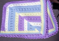 Crocheted Baby Afghan  lavender  blue  cream
