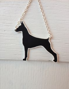 Doberman Pinscher silhouette pendant dog by PamelaGriceArt on Etsy