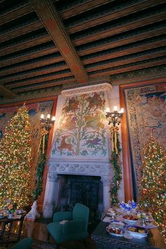 Christmas inside Biltmore House - the tapestry gallery. Christmas Tree And Santa, Christmas Holidays, Christmas Decor, Biltmore Estate Christmas, Christmas Fireplace, Unusual Homes, Old Fashioned Christmas, Vintage Holiday, Xmas