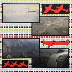 Travel scrapbook page with an Airplane & Plane Borders from Cricut's Stand & Salute
