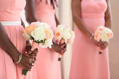 coral bridesmaid dresses Photo by: Greer Rivera    http://www.greerrivera.com/    Seen on http://www.jetfeteblog.com/caribbean/coral-colored-destination-wedding #pink #bouquets #pastel #wedding