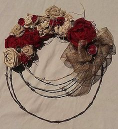 Rustic/Country Decor Fall Barbed Wire/Burlap Floral Door Wreath, Burgandy Roses