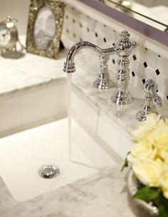 Marble Bathroom Ideas -  i love the backsplash tile.