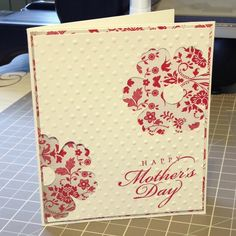 """Card Stock: Everyday Enchantment, Very Vanilla / Ink: Real Red / Cool Tools:  Blossom Punch, 1/2"""" Circle Punch, Big Shot, Perfect Polka Dots Embossing Folder / Stamp: All Year Cheer 2"""