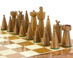 Art Deco Series Sheesham and Boxwood Chess Pieces 3.5 inches [RCP059] - £43.87 : The Regency Chess Company Limited England, The UK's Finest Online Chess Shop
