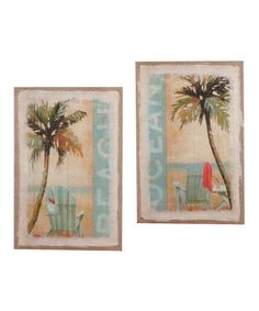 Take a look at this Palm Tree Canvas Wall Art Set by Young's on #zulily today!