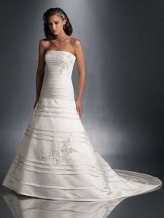 Satin Strapless Intricately Pleated Bodice A-line Wedding Dress