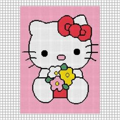 HELLO KITTY FLOWERS CROCHET AFGHAN PATTERN GRAPH EMAILED .PDF | CozyConcepts - Patterns on ArtFire