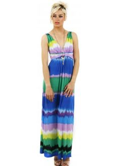 Multicolour Tie Dye Stripe Print Maxi Dress