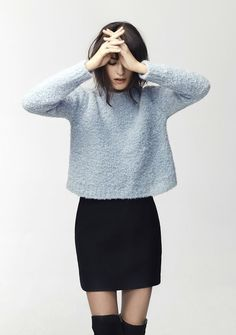 Crop sweater and skirt