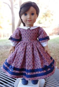 18 Doll Clothes Historical 1850's Style Gown by Designed4Dolls