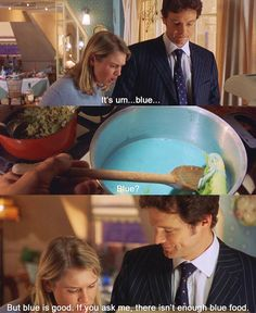 Or when Mark reassures Bridget about her blue soup in Bridget Jones' Diary. | What's The Most Romantic Movie Scene Involving A Meal?