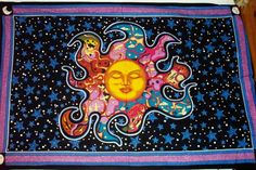 Dreaming Sun Tapestry- Dreaming Sun Tapestry Wall Hanging This tapestry has a celestial design with the sun and starry background. Our dreaming sun tapestry is made of cotton and has loops on the side for easy hanging. You can use this tapestry Sleeping Sun, Diy Room Decor, Bedroom Decor, Bedroom Ideas, Hippie Shop, Gypsy Rose, Tumblr, Tapestry Wall Hanging, My New Room