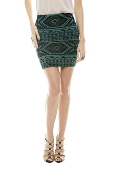 Southwestern Skirt in Green & Black.