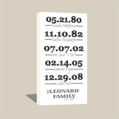 10x20 Custom Family Dates and Last Name - Birthdates - Established Date - Personalized What a Difference A Day Makes. $65.00, via Etsy.