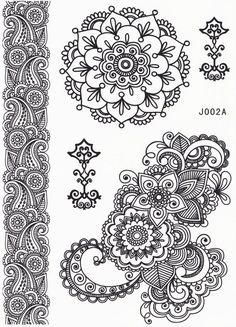 Product Information - Product Type: 1 Mandala Tattoo Sheet Set Tattoo Sheet Size: Tattoo Application & Removal Instructions Black and White Mandala and Lotus Temporary Tattoo Sheet *** Hand Tattoo, Tatoo Henna, Tattoo Set, Henna Art, Lotus Mandala Tattoo, Henna Mandala, Henna Patterns, Zentangle Patterns, Zentangles