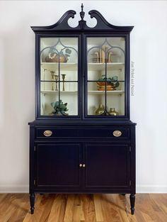 Custom Furniture, Painted Furniture, Furniture Ideas, Furniture Inspiration, Vintage Furniture, Furniture Design, China Hutch Makeover, Cabinet Makeover, Hutch Redo