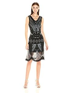 Unique Vintage Womens Caspian Beaded Flapper Dress BlackSilver M >>> Read more reviews of the product by visiting the link on the image.