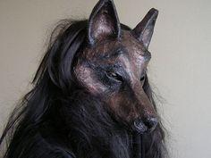 Animal mask paper mache mask  Wolf  mask Wolf costume Masguerade mask Halloween mask Fancy dress Face mask