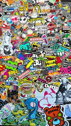 STICKER BOMB Wallpaper for iPhone 6 - Some people look at content – others make it. We love to do both. Ask me to make one OR just steal this one. Wallpaper Para Iphone 6, Sticker Bomb Wallpaper, Graffiti Wallpaper Iphone, Hype Wallpaper, Trippy Wallpaper, Galaxy Wallpaper, Cartoon Wallpaper, Screen Wallpaper, Cool Wallpaper