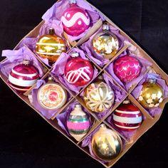 Vtg Glass Xmas Ornaments, Poland Shiny Brite Germany PINK Lot Box MICA Indent 12