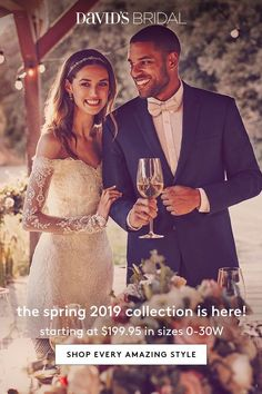 Spring 2019 wedding dresses have arrived at David's Bridal. Brand new looks every bride will love, in a range of silhouettes and styles from classic to of-the moment, from casual to super-glam. We're here to help you find the one! Shop now at davidsbridal.com.