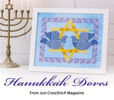 Hanukkah Doves from the Nov/Dec 2014 issue of Just CrossStitch Magazine. Order a digital copy here: https://www.anniescatalog.com/detail.html?code=AM53356
