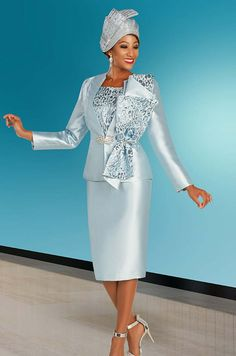Ben Marc 48373 Satin Twill Church Dress And Jacket Set With Elaborate Printed Adornment - Spring 2020 - ExpressURWay First Lady Church Suits, Church Suits And Hats, Women Church Suits, Church Attire, Church Dresses, Dresses For Teens, Suits For Women, Church Hats, Ladies Suits