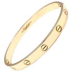 Preowned Cartier Love Yellow Gold Bangle Bracelet ($6,000) ❤ liked on Polyvore featuring jewelry, bracelets, bangles, yellow, cartier bangle, gold hinged bracelet, gold bangle bracelet, yellow gold jewelry and gold bangles